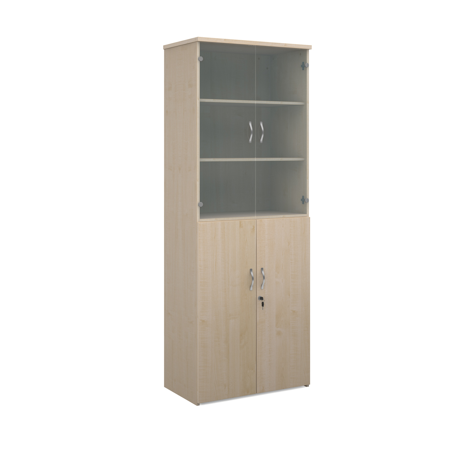 2140mm high combination unit with glass and wood doors in maple