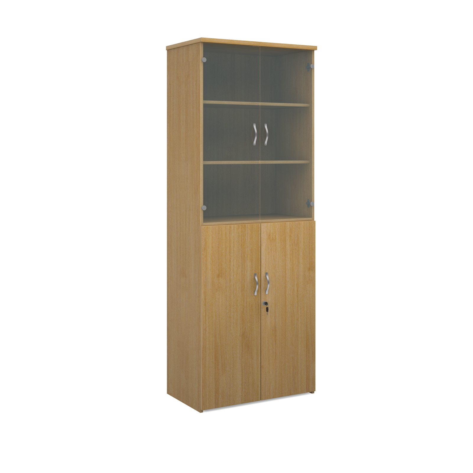 2140mm high combination unit with glass and wood doors in oak