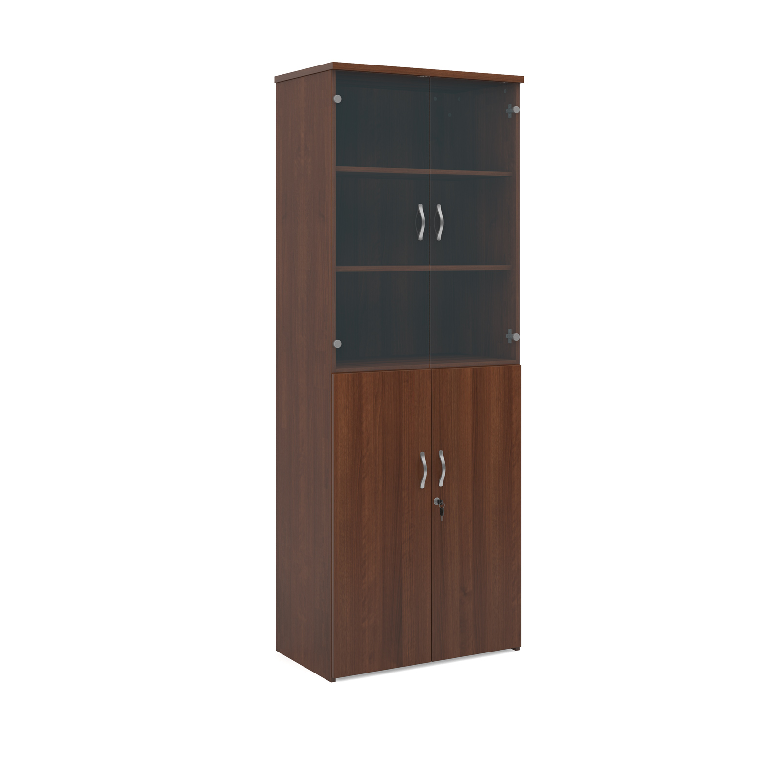 2140mm high combination unit with glass and wood doors in walnut
