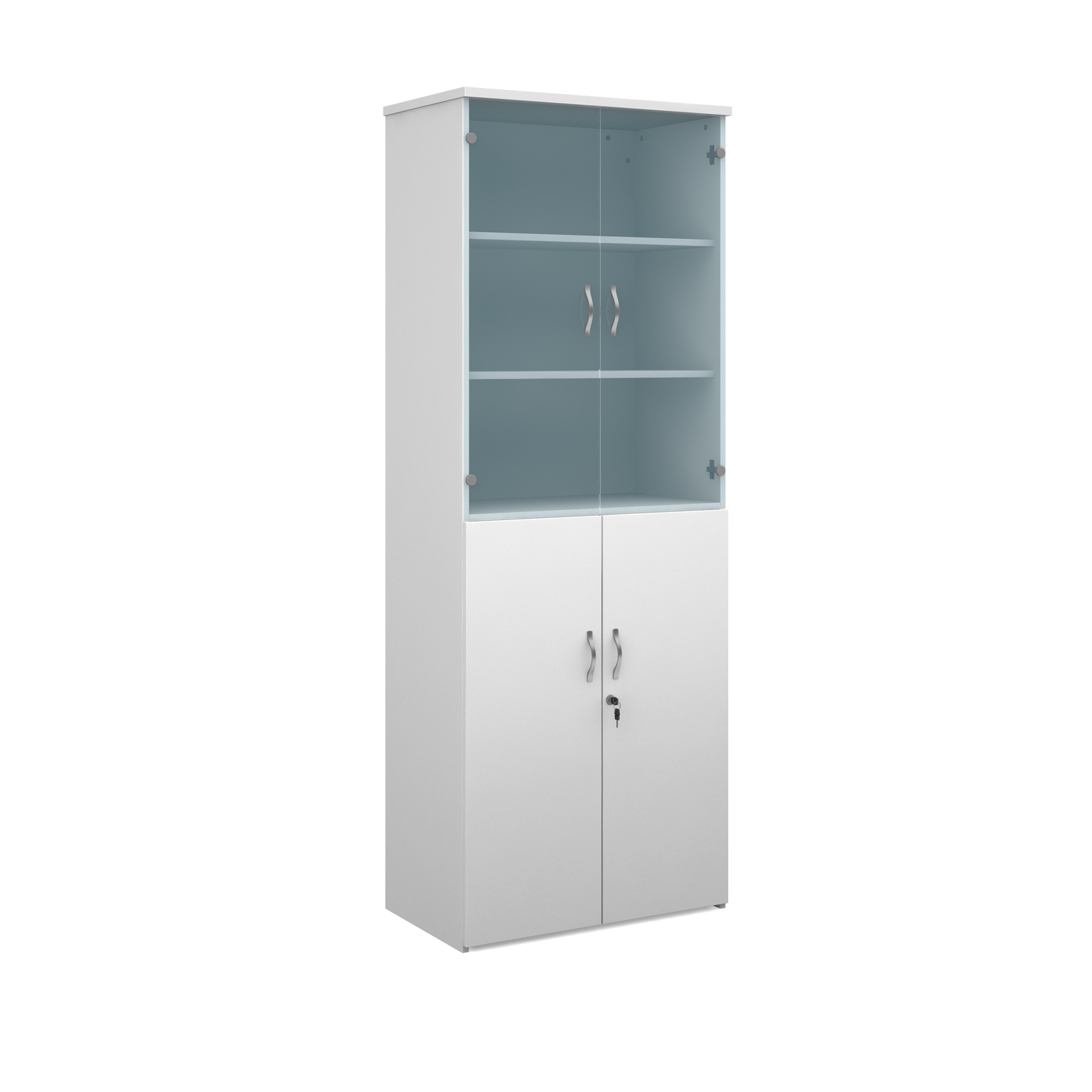 2140mm high combination unit with glass and wood doors in white
