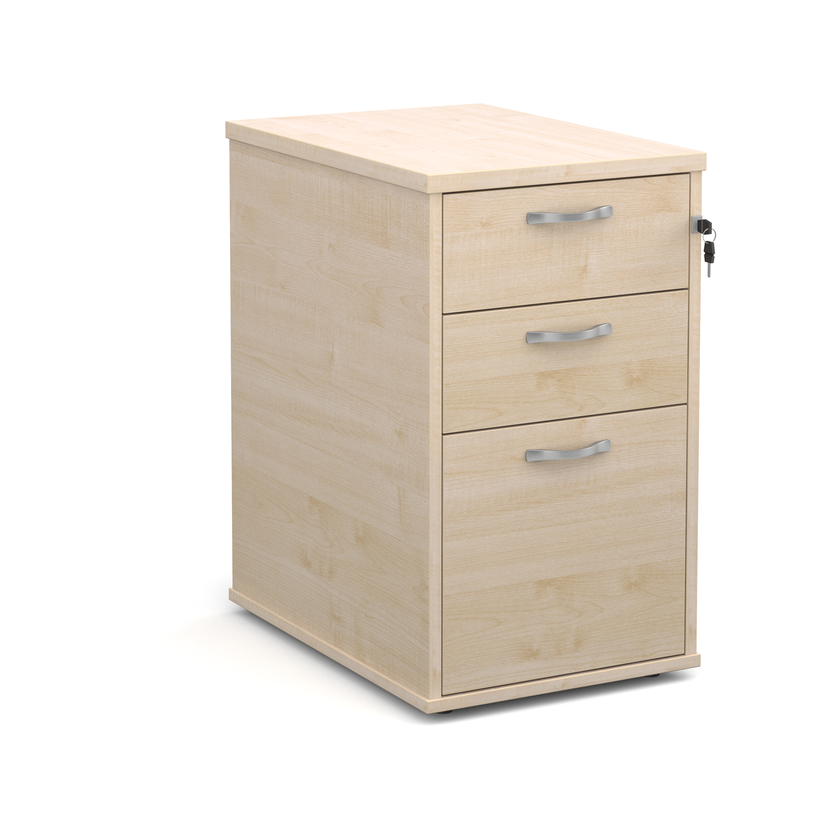 600mm Desk High 3 Drawer Pedestal in maple