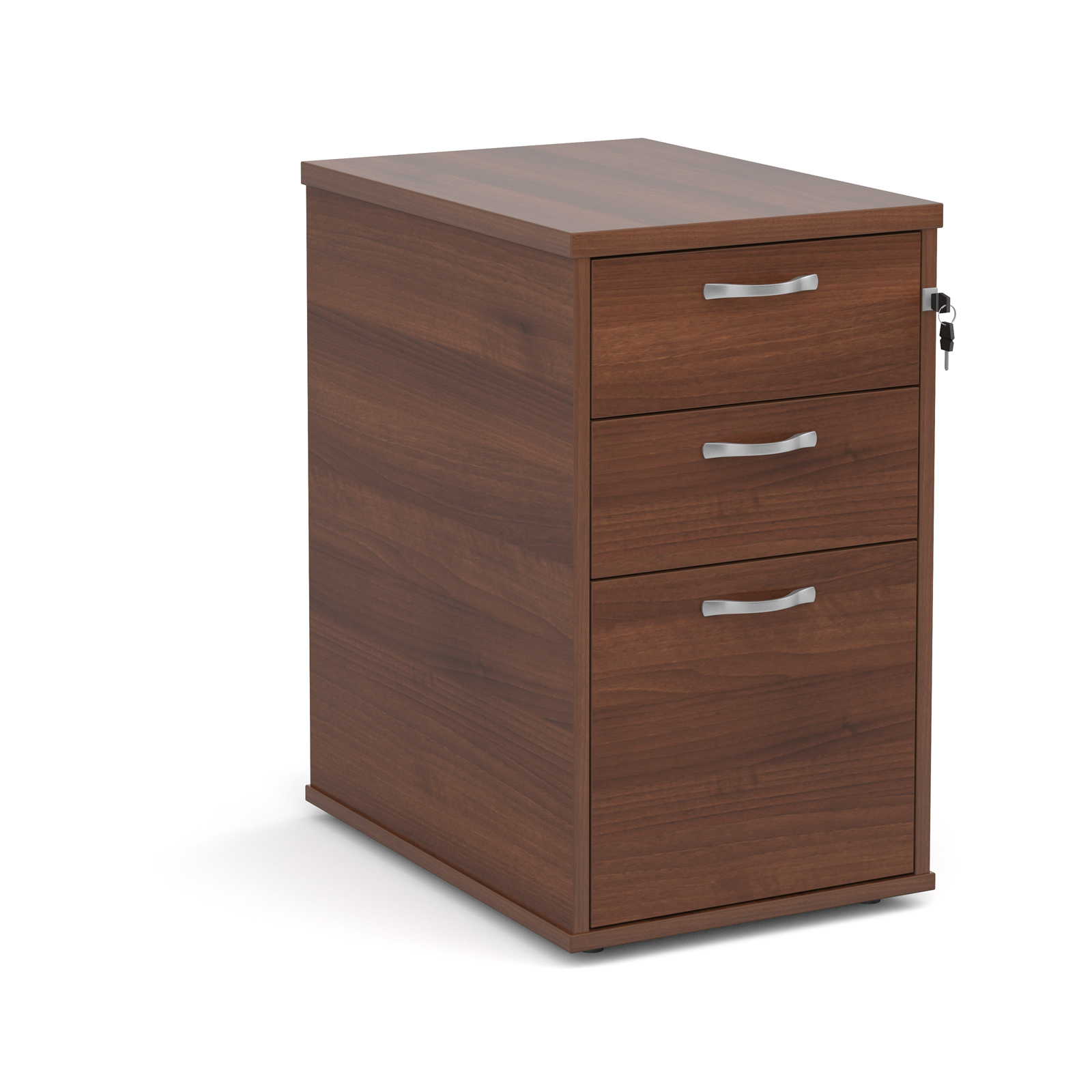 600mm Desk High 3 Drawer Pedestal in walnut