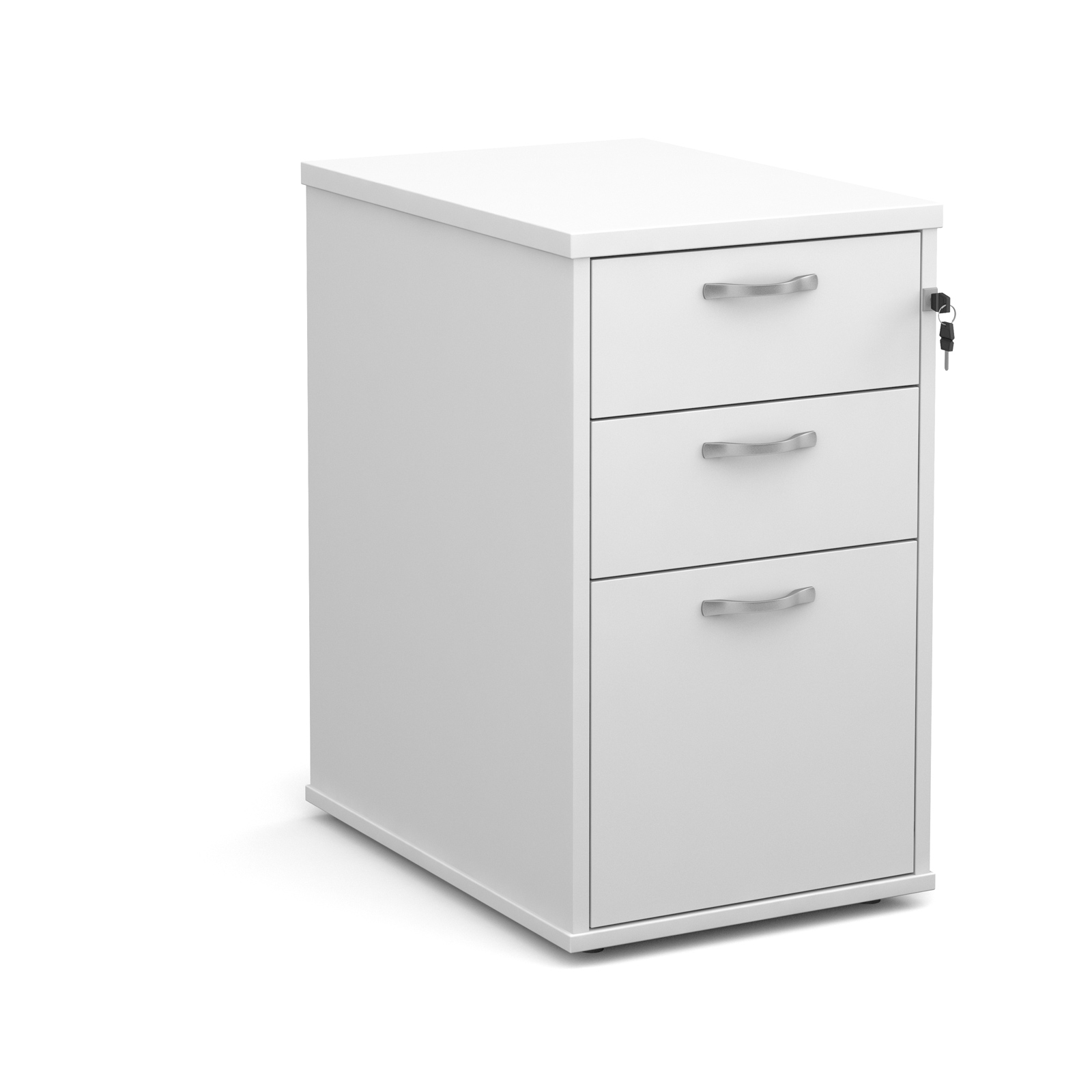 600mm Desk High 3 Drawer Pedestal in white