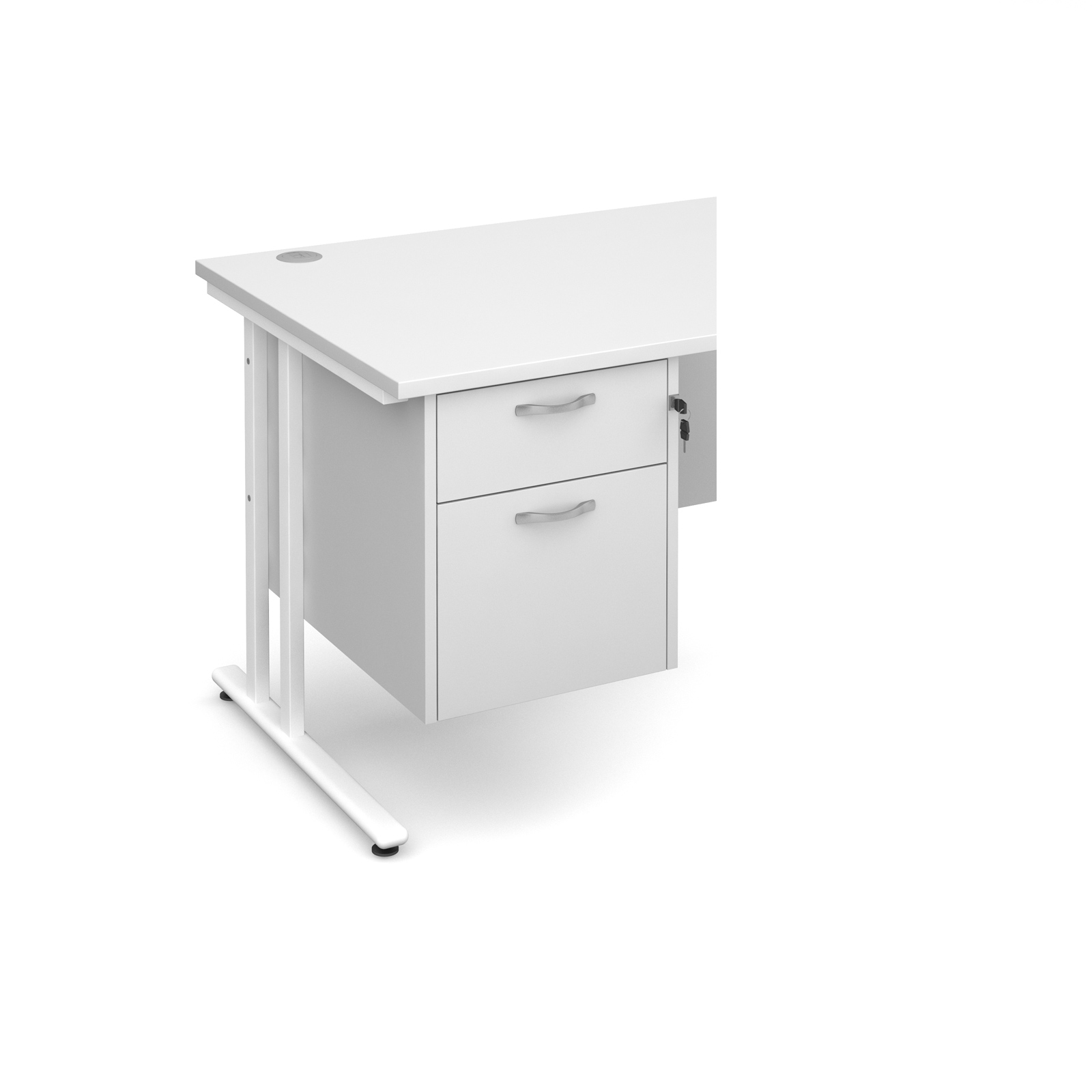 2 Drawer Fixed Pedestal in White