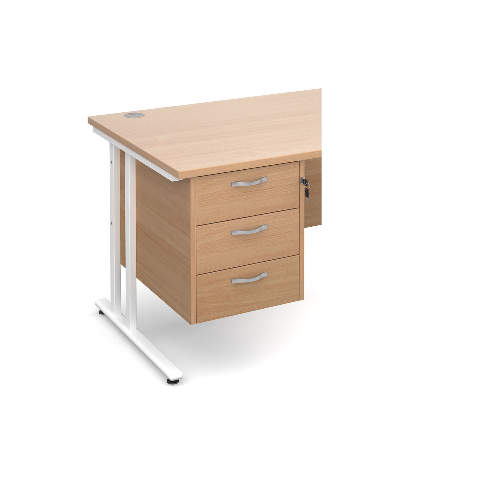3 Drawer Fixed Pedestal in beech