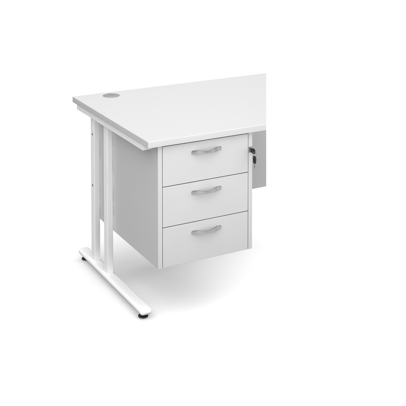3 Drawer Fixed Pedestal in White