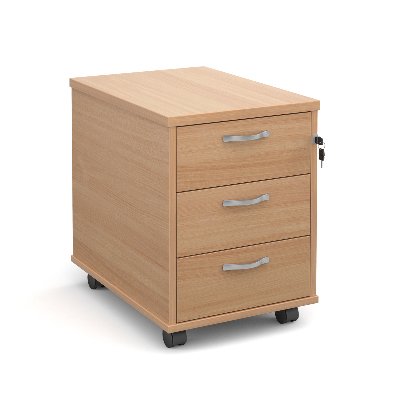 3 Drawer Mobile Pedestal in beech