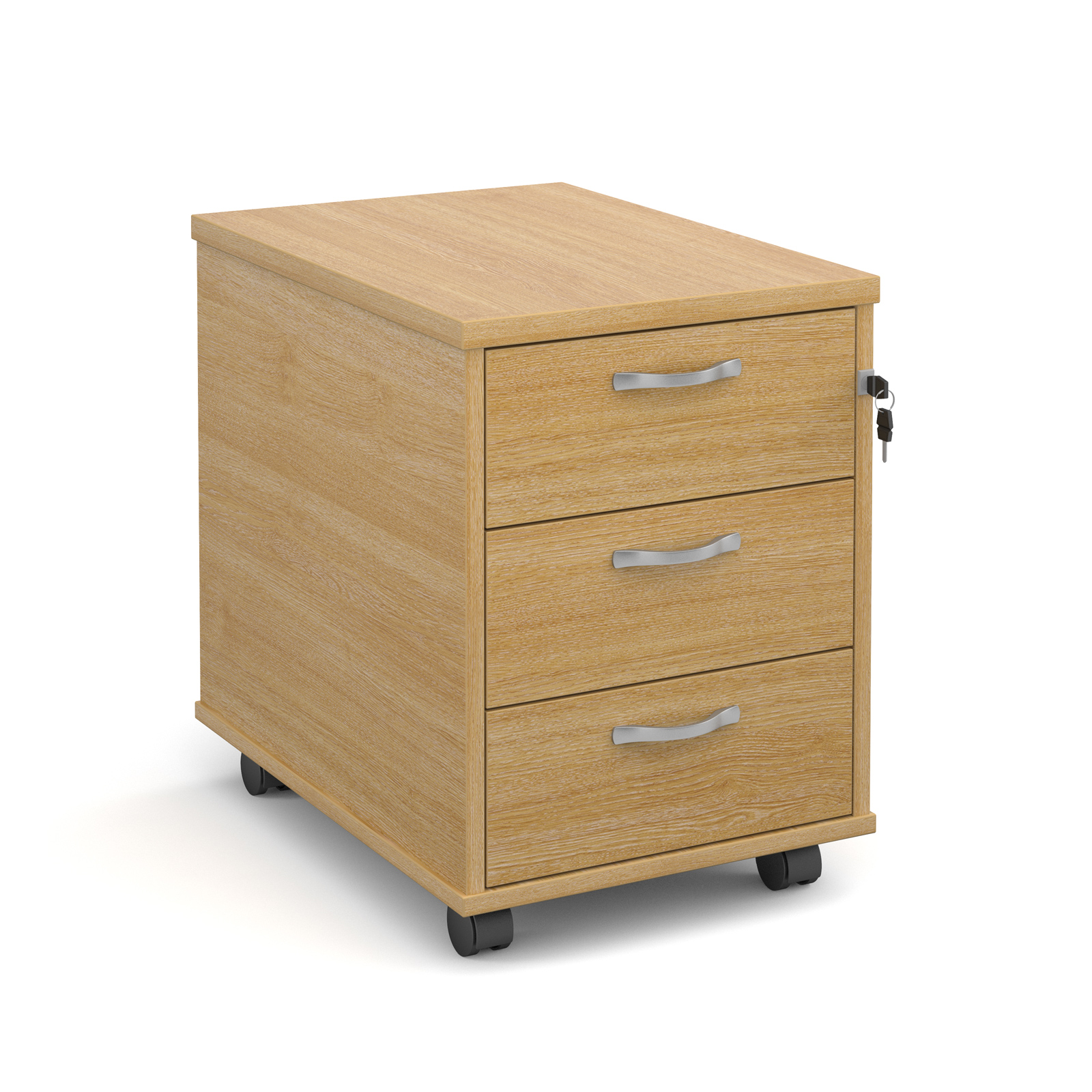 3 Drawer Mobile Pedestal in oak