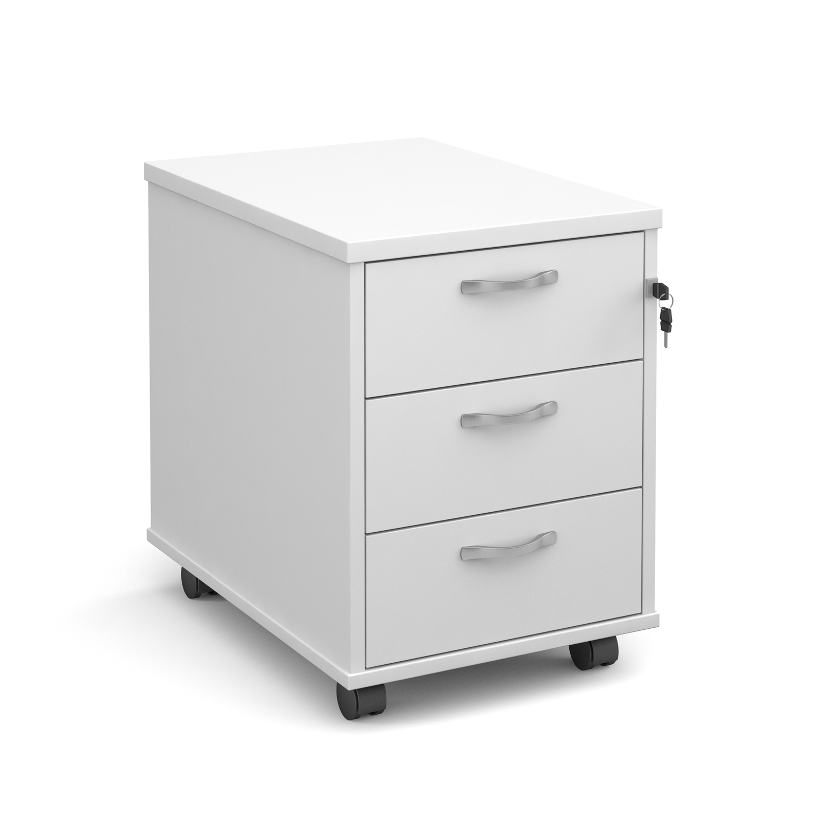 3 Drawer Mobile Pedestal in white