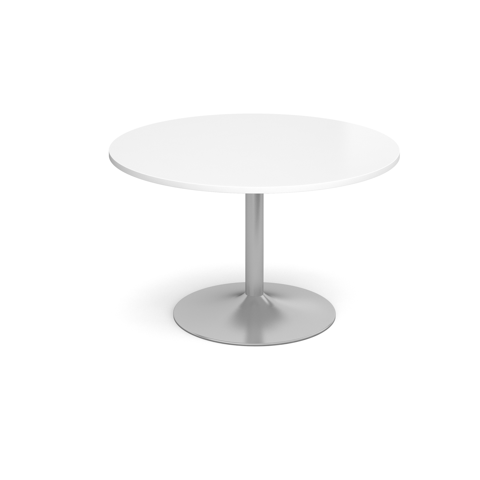 1200 Dia Circular Trumpet Base Boardroom Table 25mm Top - White