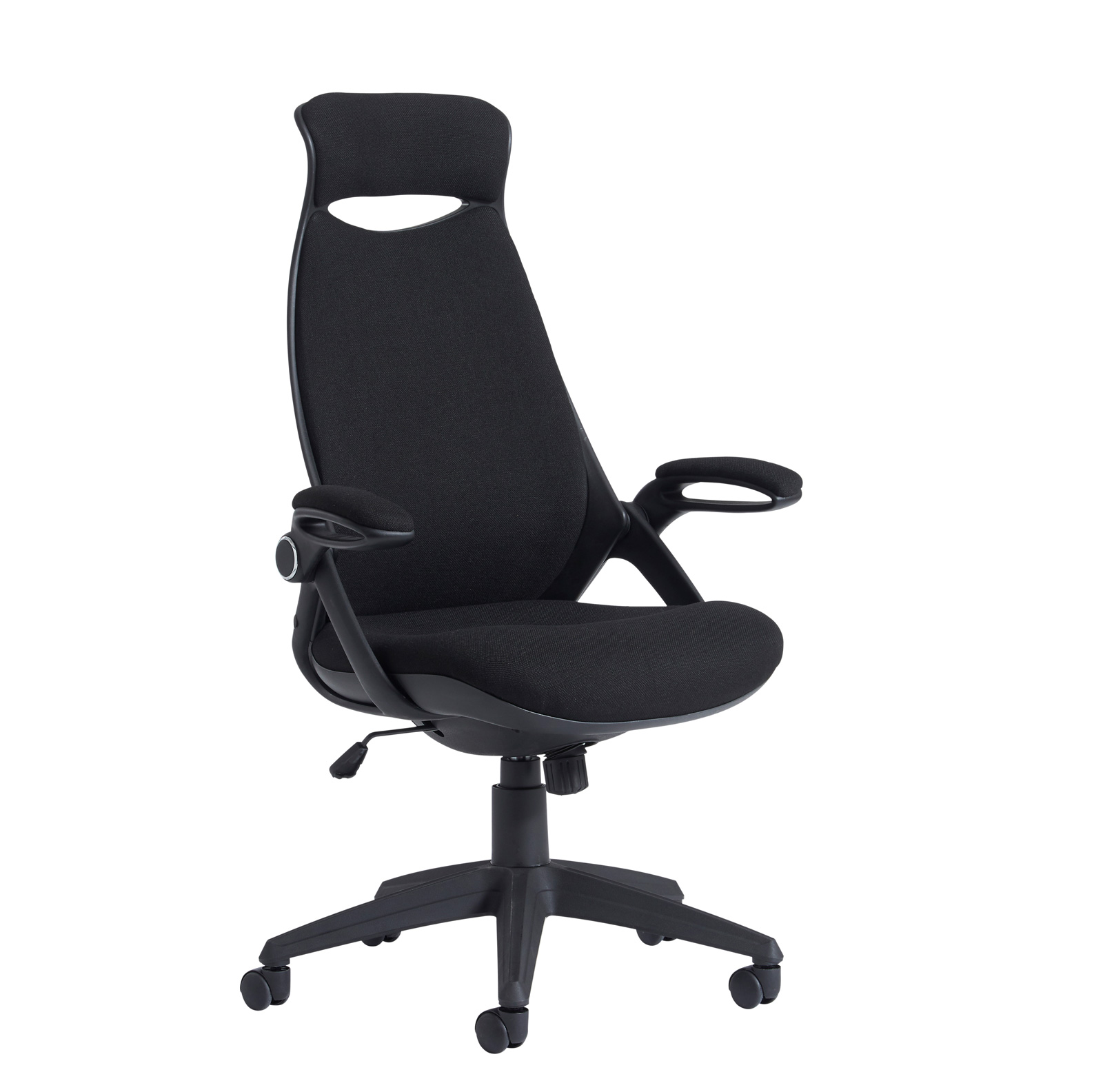 Tuscan fabric managers chair with head support - black