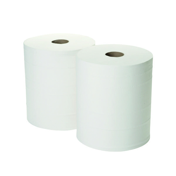 2Work 2-Ply Forecourt Roll 360m White (2 Pack) 1WH101