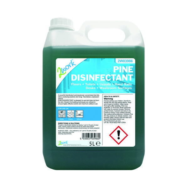 2Work Disinfectant and Deodoriser Fresh Pine 5 Litre Bottle 2W03986