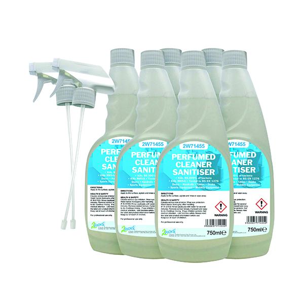 2Work Perfumed Spray Wipe Sanitiser 750ml (6 Pack) 2W07254