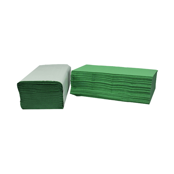 2Work 1-Ply I-Fold Hand Towels Green (3600 Pack) 2W70105