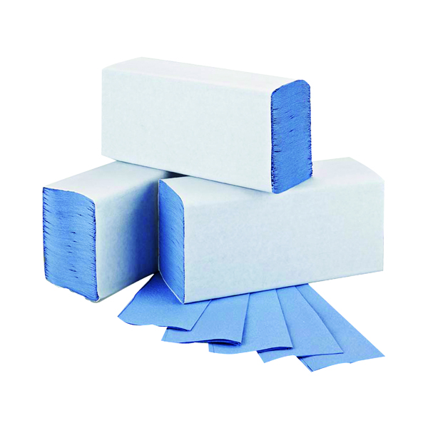 2Work 1-Ply M-Fold Hand Towel Blue (3000 Pack) 2W71923