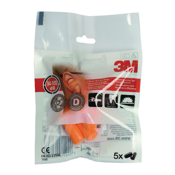 3M Ear Plugs 1100 94-105dB Tapered Orange (5 Pack) XA004837911