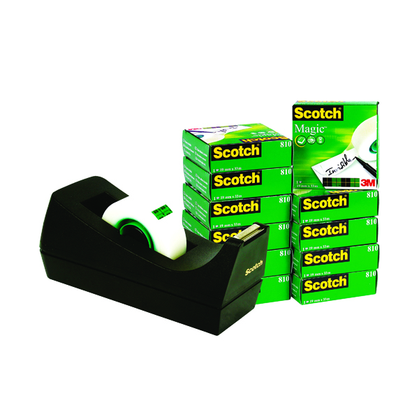 Scotch Magic Tape 810 19mm x 33m (12 Pack) with Free Dispenser SM12