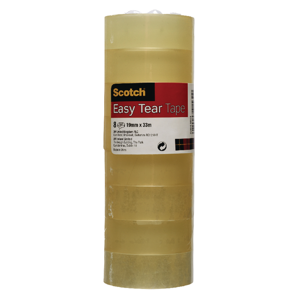 Scotch Clear Easy Tear Tape 19mm x 33m (8 Pack) ET1933T8