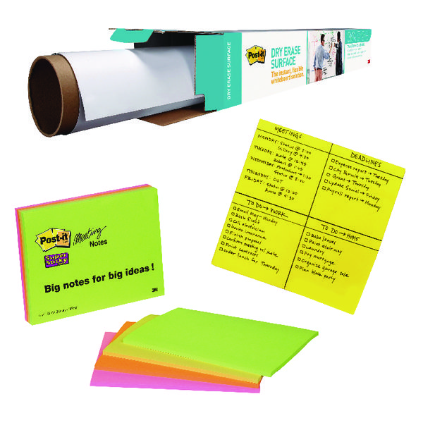 Dry Erase Roll and Big Notes with Free Pack of 4 SuperSticky Neon Notes 3M811289