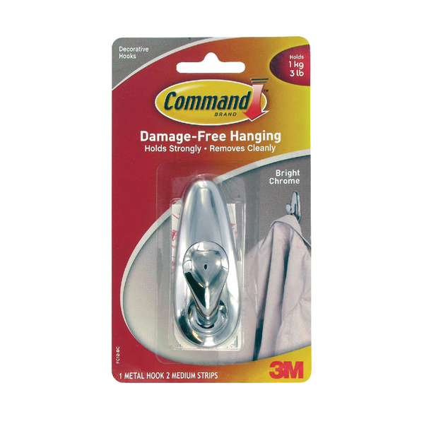3M Command Medium Chrome Metal Hook With Command Strips FC12-BC