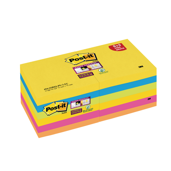 Post-it Super Sticky Z-Notes 76 x 76mm Rio Collection (12 Pack R330-SSRIO-P9+3