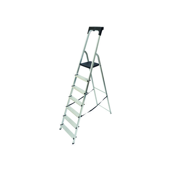 Abru Aluminium High Handrail 7 Tread Step Ladder 7410718