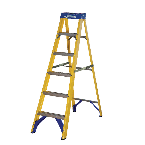 Abru Fibreglass Swingback Step Ladder 6 Tread Yellow 7160618