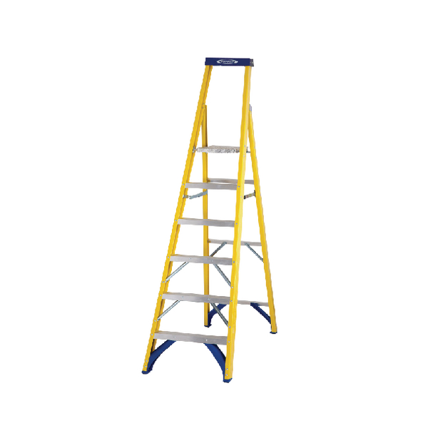 Abru Fibreglass Platform Stepladder 6 Tread Yellow 7170618