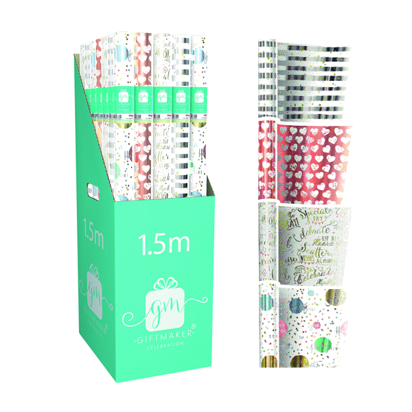 Giftmaker Celebration Mix Gift Wrap (42 Pack) Y8GM123K