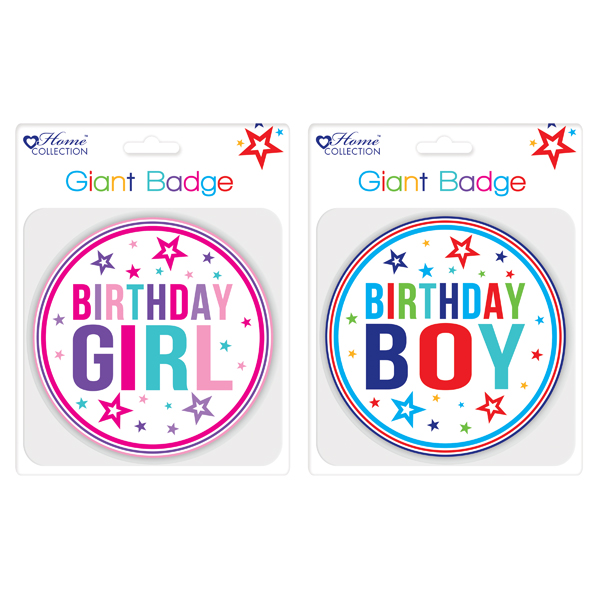 Giftmaker Giant Girl and Boy Birthday Badge (12 Pack) GBAD