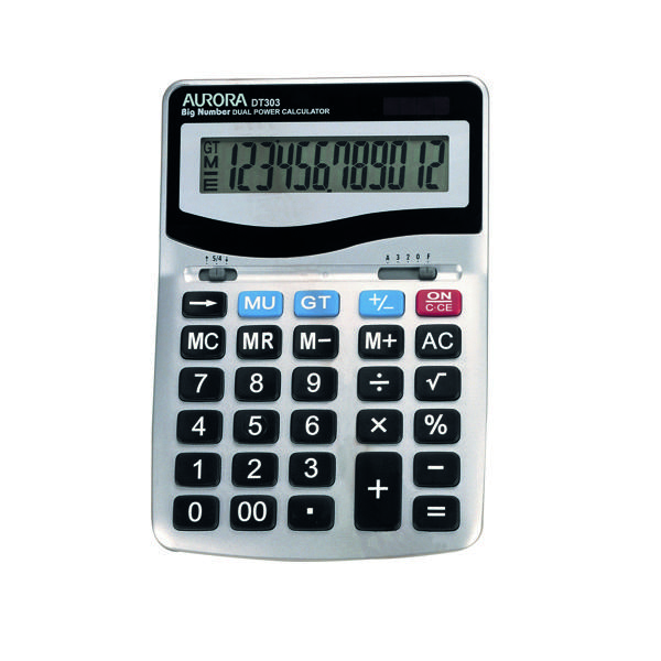 Aurora Grey/Black 12-Digit Desk Calculator DT303