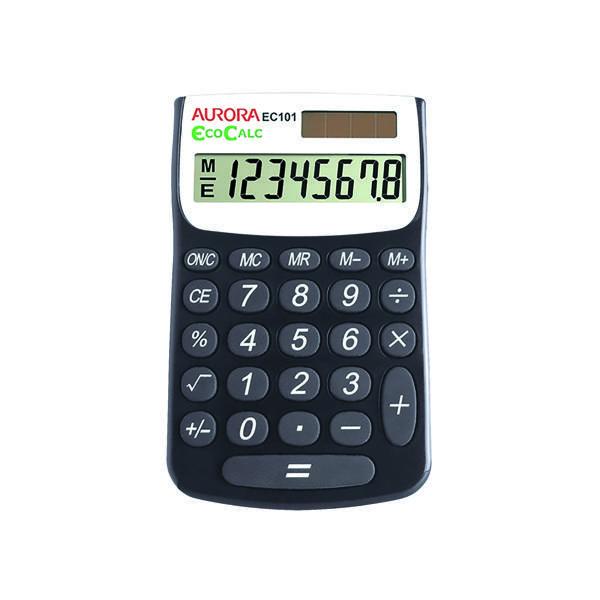 Aurora Black/White 8-Digit Handheld Calculator EC101