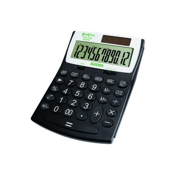 Aurora Black/White 12-Digit Desk Calculator EC707