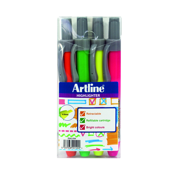 Artline Clix Retractable Highlighter Assorted (4 Pack) EK63W4