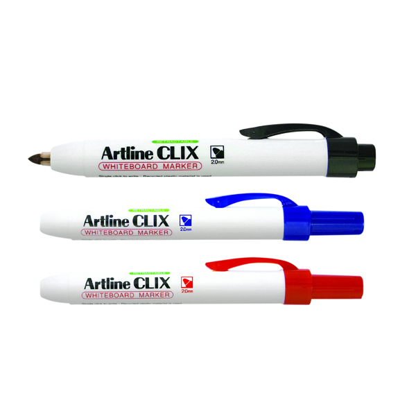 Artline Clix Retractable Whiteboard Marker Assorted (4 Pack) EK573AW4