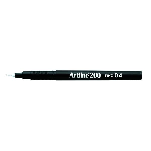 Artline 200 Fineliner Pen Fine Black (12 Pack) A2001