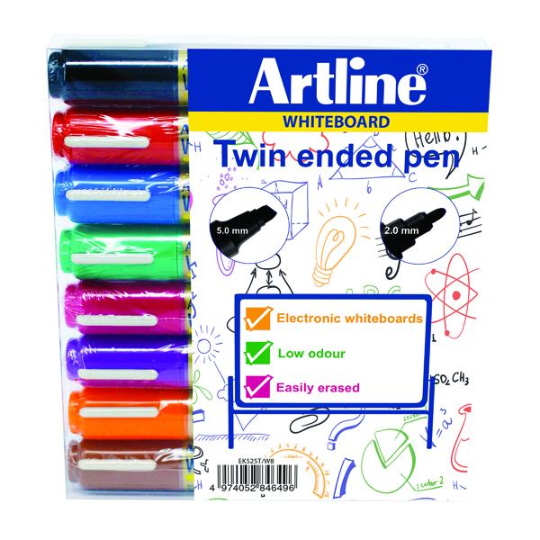 Artline 2-in-1 Whiteboard Marker Bullet/Chisel Tip Assorted (8 Pack) EK525TA
