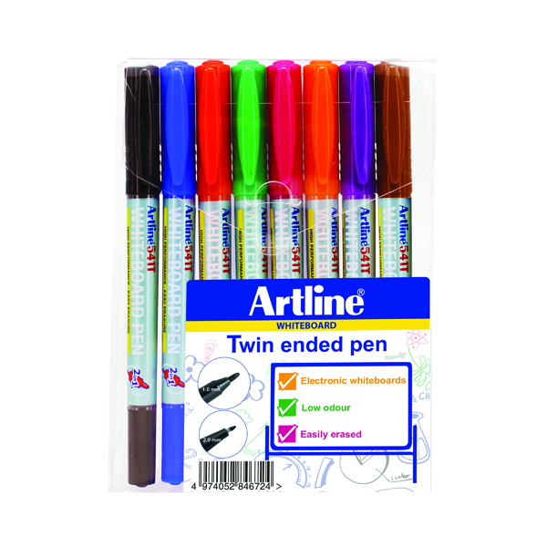 Artline 2-in-1 Whiteboard Marker Fine/Superfine Assorted (8 Pack) EK-541T-WB