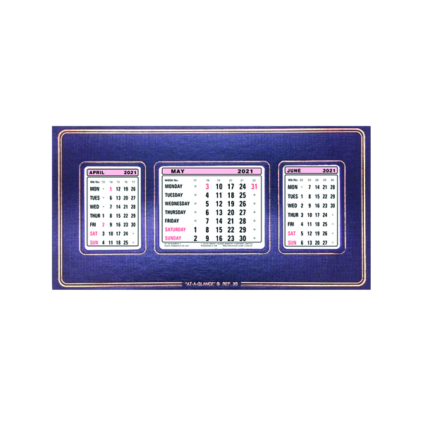 At-A-Glance Refillable Calendar 3 Month View 2021 3S21