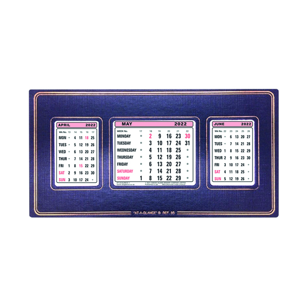 At-A-Glance Refllble Calendar 2022 3 Month View 3S22
