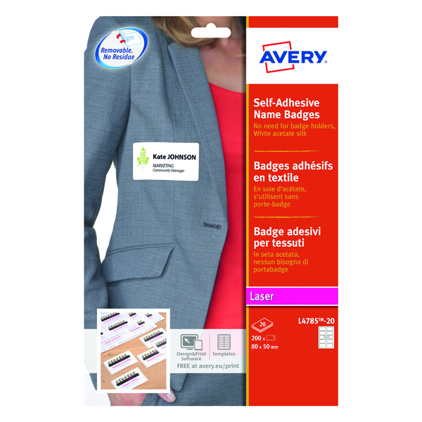 Avery Self Adhesive Name Badge 80x50mm 10 Per Sheet White (200 Pack) L4785-20