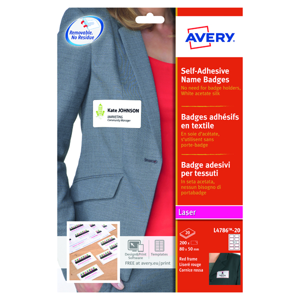 Avery Self Adhesive Name Badge 80x50mm 10 Per Sheet White/Red Border (200 Pack) L4786-20