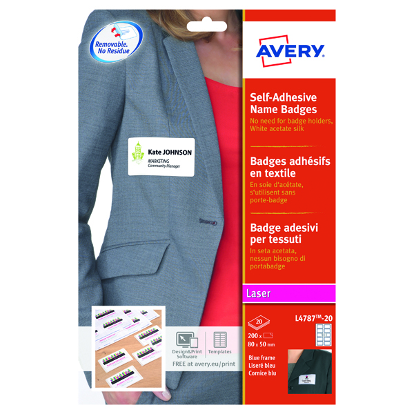 Avery Self Adhesive Name Badge 80x50mm 10 Per Sheet White/Blue Border (200 Pack) L4787-20