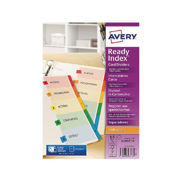 Avery Readyindex Mylar 1-5 Punched 01733501