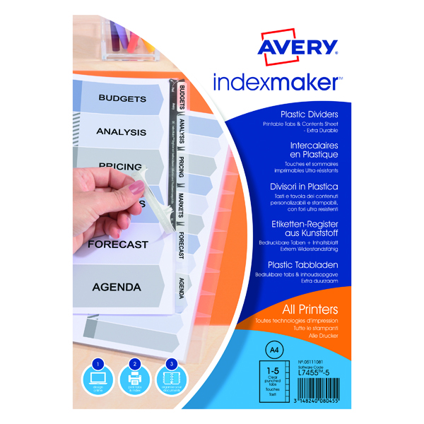 Avery Clear Index Maker 5 Part Polypropylene (Pack of 1) 05111081