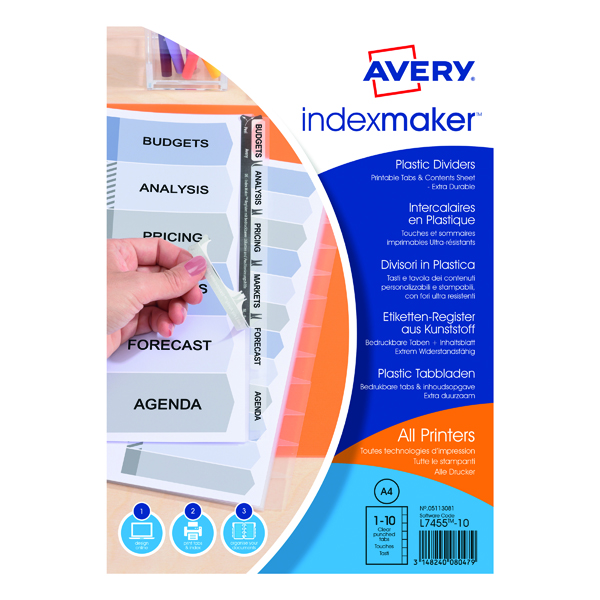 Avery 10-Part Index Maker Polypropylene Clear 05113081