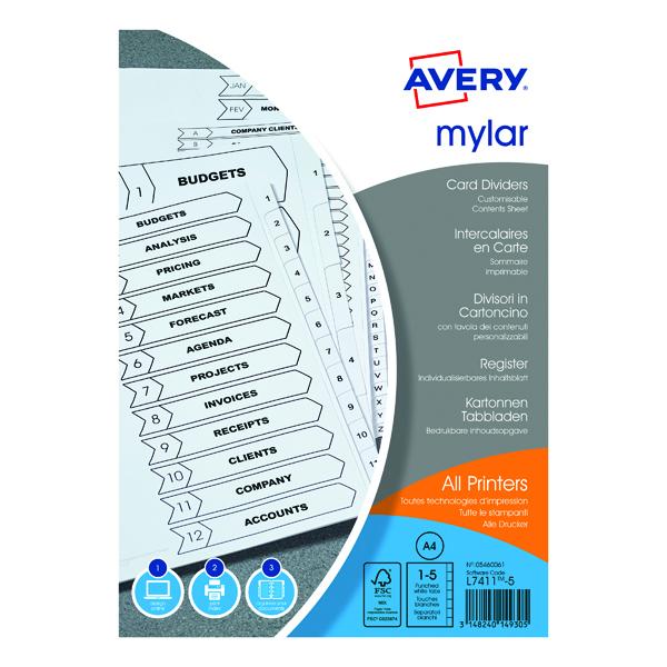 Avery Bright White Mylar Divider 1-5 05460061
