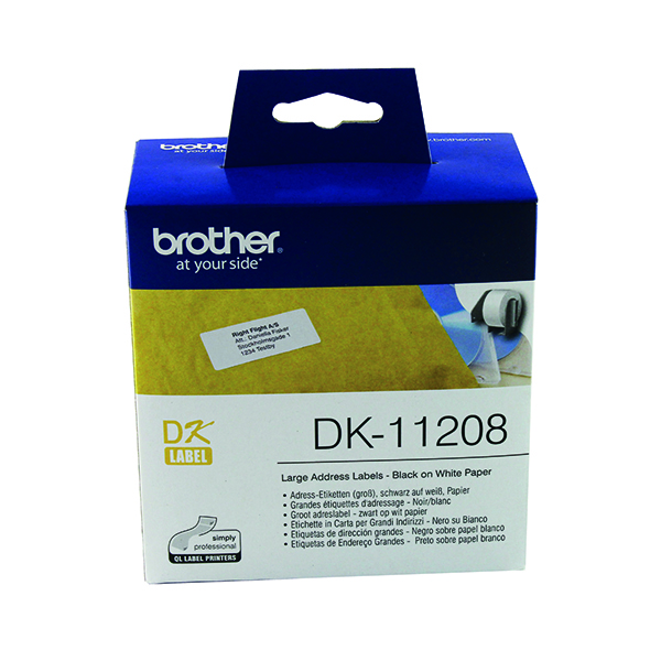 Brother Black on White Paper Large Address Labels (400 Pack) DK11208