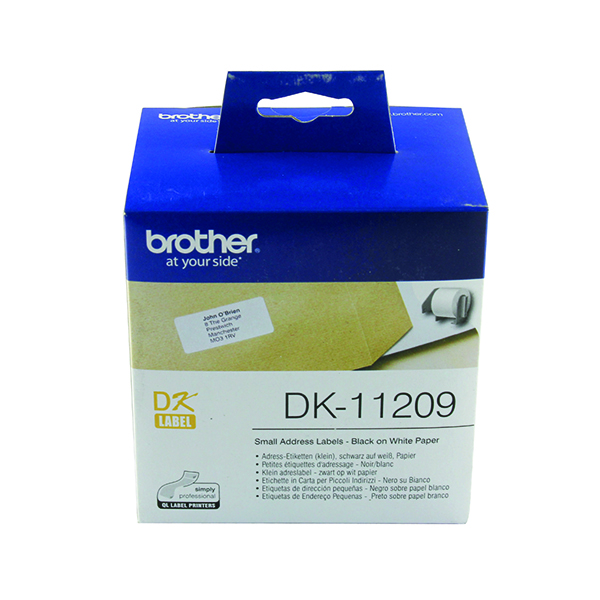 Brother Black on White Paper Small Address Labels (800 Pack) DK11209